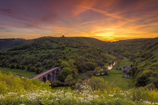 sunset, hills, the mountains, bridge, trees, River, flowers, landscape