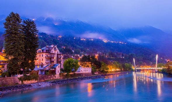 River Inn, Innsbruck, Austria, night time