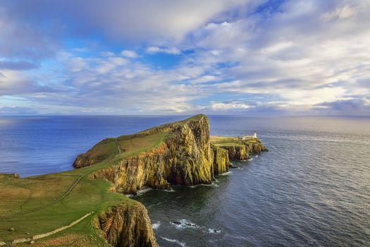 Of these, Point Lighthouse, Isle of Skye, Beacon Neist Point, Isle of Skye, sunset, Island, sea, landscape