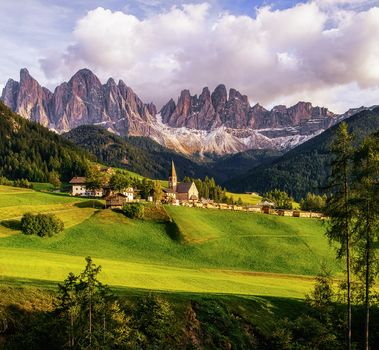 Italy, Santa Maddalena, the mountains, fields, hills, Alps, landscape
