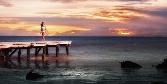 sunset, sea, pier, berth, girl, landscape