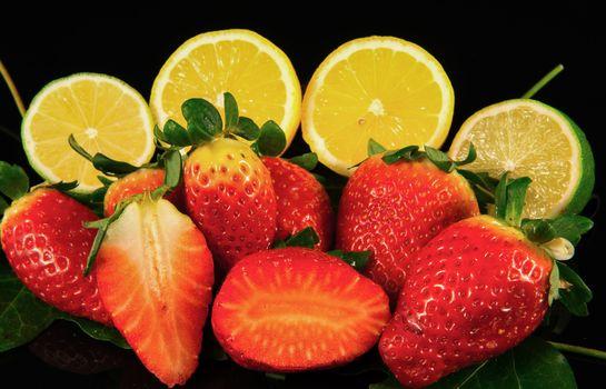 Strawberry, lime, lemon, Black background, food, fruit