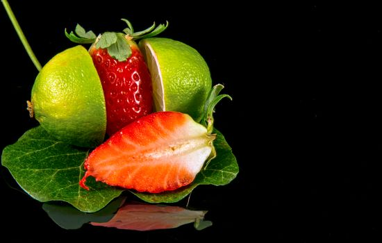 Strawberry, lime, food, fruit, Black background