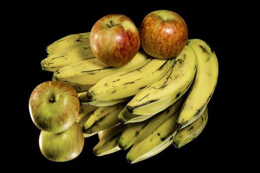 bananas, apples, dessert, fruit, food