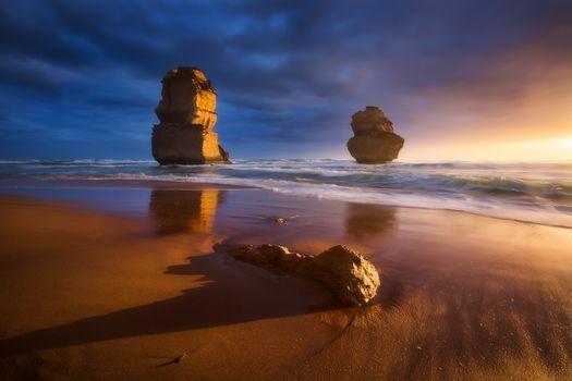 Великая океанская дорога, Порт-Кэмпбелл, Австралия, закат, море, скалы, пейзаж