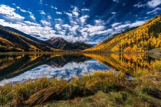 Colorado, lake, autumn, the mountains, trees, landscape