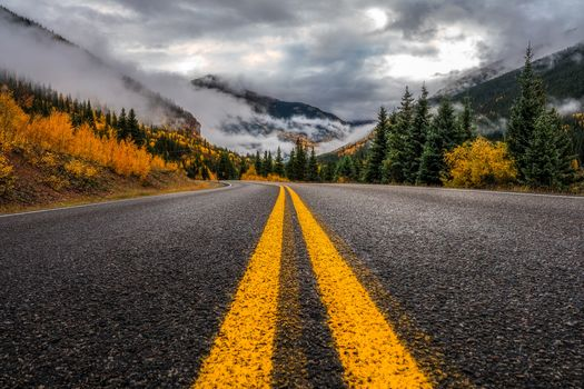 San Juan Mountains, Colorado, autumn, the mountains, trees, forest, road, landscape