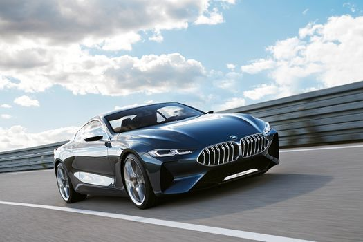 BMW, BMW 8-Series Concept, 2017, BMW, concept car, compartment, motion, speed, guardrail, sky, clouds