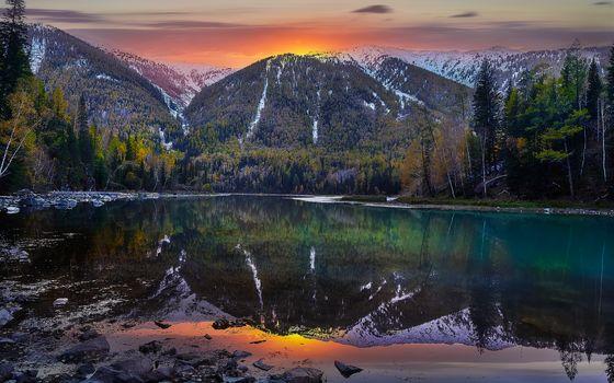Xingxiang, Fujian, China, Lake Canas, China, lake, the mountains, sunset, landscape