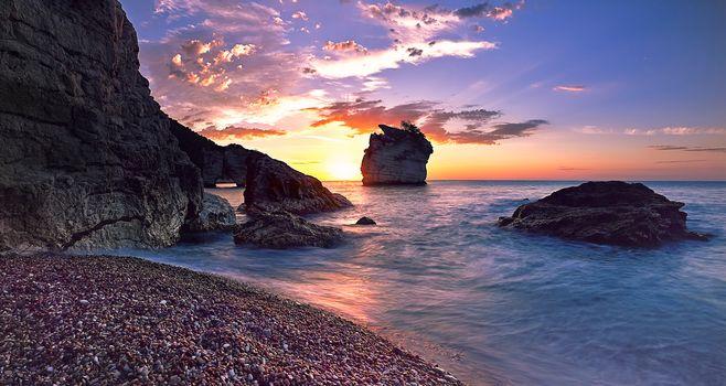 Sunrise from Faraglioni Bay, Apulia, Italy, sea, rock, landscape
