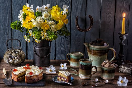 flowers, kettle, candle, cake, still life