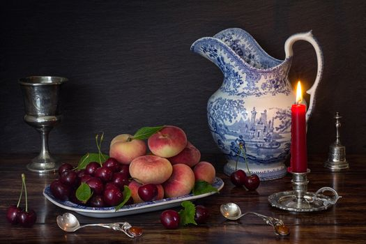peaches, merry, candle, fruit, still life