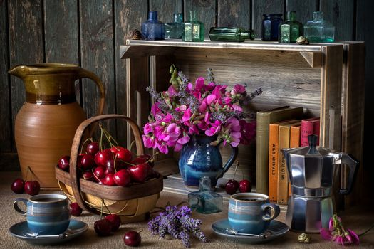 table, cups, merry, books, still life