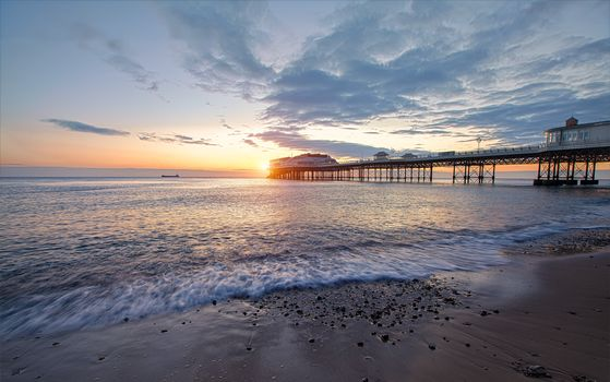 sunset, sea, Coast, beach, pier, waves, landscape