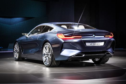 BMW, BMW 8-Series Concept, 2017, BMW, concept car, compartment, two-door, back view, lighting technology, Exhibition