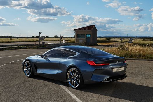 BMW, BMW 8-Series Concept, 2017, BMW, concept car, two-door, compartment, car, asphalt, road, markup, guardrail, traffic light, pointers, grass, vegetation, building, sky, clouds