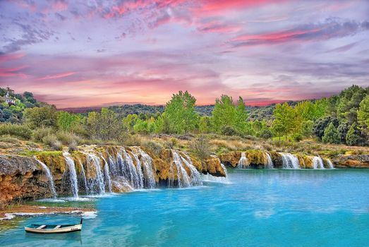 Ciudad Real, Spain, Laguna Ruidera.vodoem, waterfall, sunset, trees, a boat, landscape