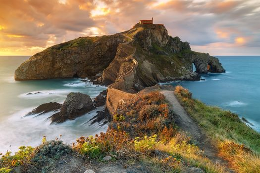Gastelugache Island, Spain, sea, sunset, landscape