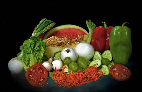 Vegetable, fruit, bow, watermelon, mushrooms, cucumber, food