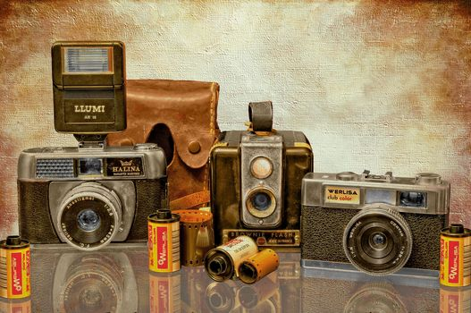 camera, film, retro, art