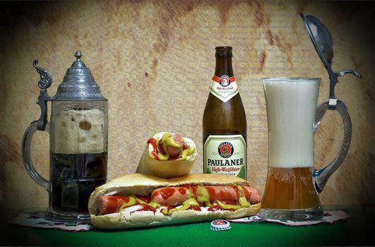 beer, Cup, bottle, hot dog, drink, food