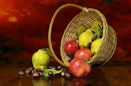 basket, fruit, Garnet, pear, food, still life