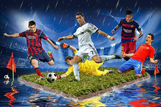Football, soccer players, field, ball, art