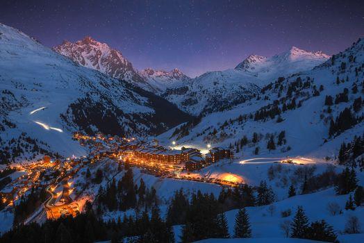 Meribel, France, ski resort, winter, the mountains, night, lights, landscape