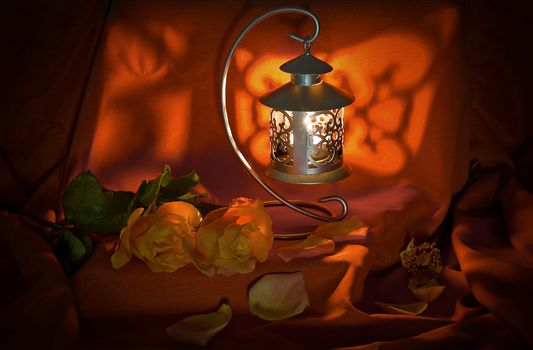lamp, roses, flowers, still life