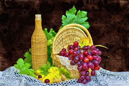 grapes, strawberry, basket, bottle, still life