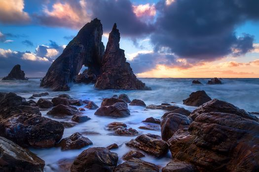 Ireland, sunset, sea, rock, waves, landscape
