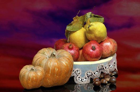 vegetables, fruit, pumpkin, Garnet, pear, food, still life