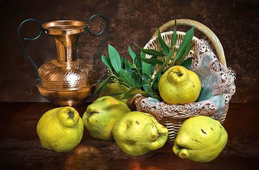 basket, jug, pears, fruit, food, still life