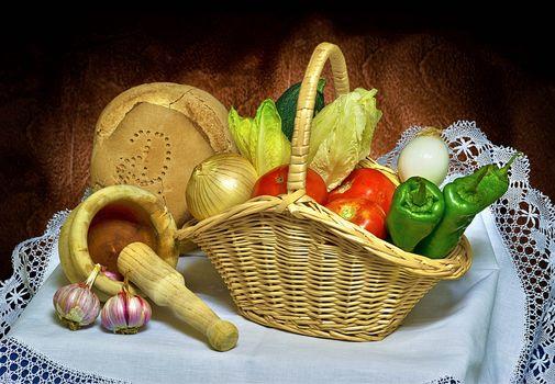 still life, food, vegetables, pepper, bread, bow, tomatoes, garlic, basket