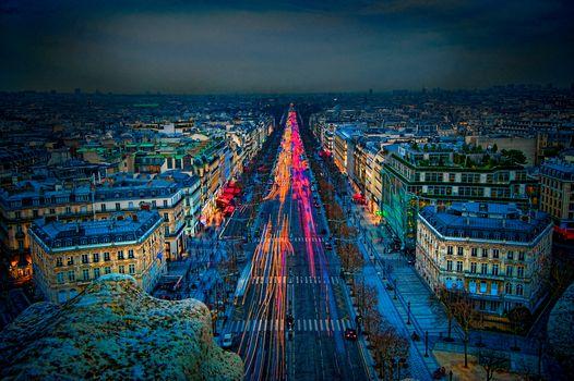 France, Paris, city, night, lights