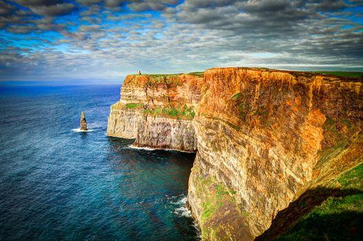 sea, rock, Ireland, landscape