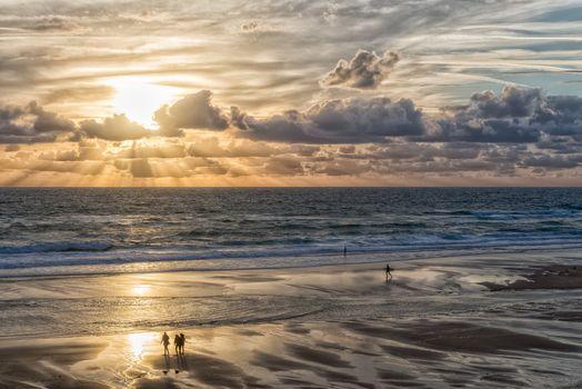 sunset, sea, beach, Coast, waves, landscape