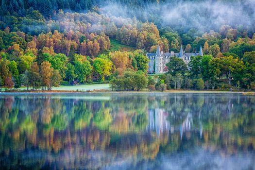 Scotland, United Kingdom, lake, fog, Castle, Hotel, trees, landscape