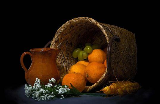 oranges, basket, grapes, fruit, food, still life