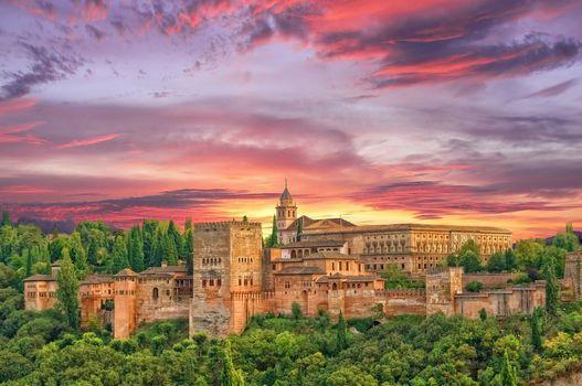 Sunset in the Alhambra, Granada, Alhambra, Spain