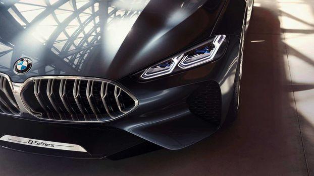 BMW, BMW 8-Series Concept, 2017, BMW, concept car, compartment, front end, falshradiator grating, emblem, lighting technology, bumper, reflection, hood, wheel arch