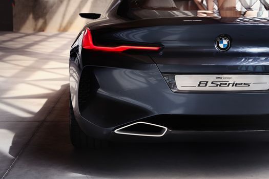 BMW, BMW 8-Series Concept, 2017, BMW, concept car, compartment, back view, bumper, lighting technology, emblem, exhaust pipe, reflection, shadow