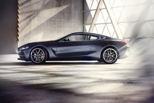 BMW, BMW 8-Series Concept, 2017, BMW, concept car, compartment, profile, hangar, wall, shadow