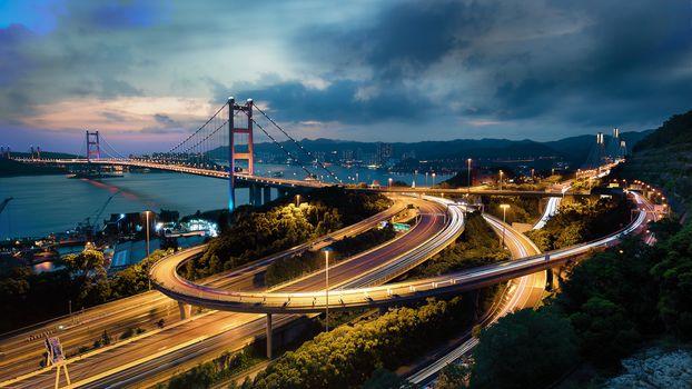 Hong Kong, China, Hong Kong Bridge, night, lights