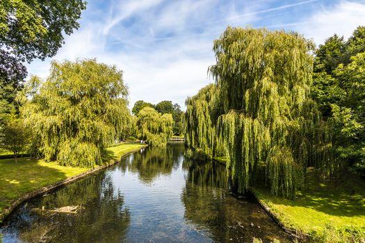 Leeds Castle Park, Kent, England, water, trees, landscape