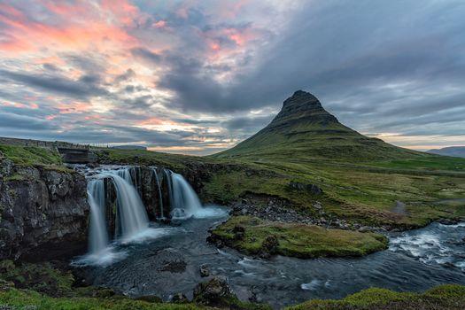 Kirkjufell, Grundarfjordur, Iceland, sunset, forest, waterfall, landscape