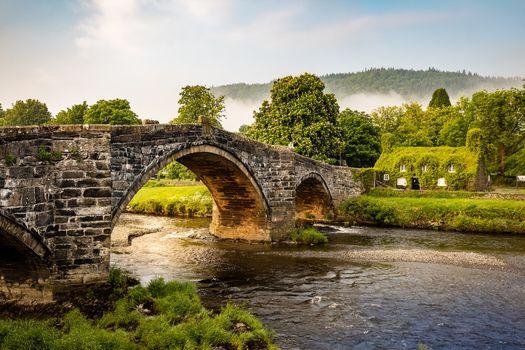 Wales, bridge, River, here, United Kingdom, house, landscape