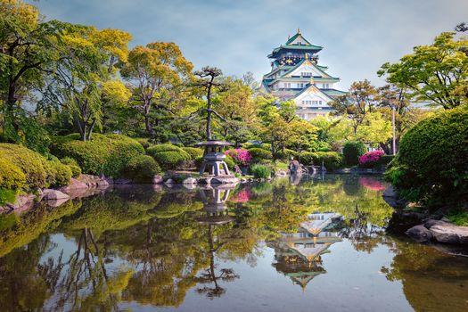 Osaka Castle, Japan, garden, park, pond, trees, landscape