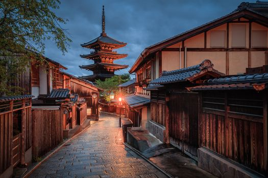 Japan, Kyoto, pagoda, building, at home, track, night