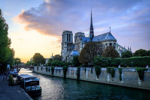 Paris, France, Our Lady, Paris, France, Notre-Dame, sunset